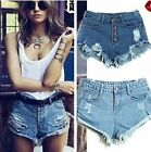 New Lady Womens Denim Hotpants Vintage Cut Off High Waisted Denim Shorts UK8-14