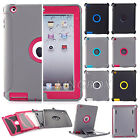 Heavy Duty High Impact Rugged Armor Combo Case + Shield Stand For New iPad 2 3 4