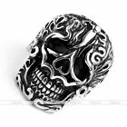 Punk Gothic Men 316 Stainless Steel Carved Totem Skull Biker Finger Ring Jewelry