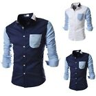 Men's Young Casual Stitching  Fit Slim Long Sleeved Stylish Dress Shirts Tops