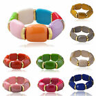 Chic Gold Plated Lucite Resin Beaded Jelly Stretch Spicer Bracelet Bangle Z292