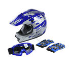 YOUTH BLUE FLAME DIRTBIKE OFF ROAD ATV MOTOCROSS HELMET MX +GOGGLES GLOVES S M L