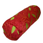 wh03g Red, Lime Leaf Embroidered Chenille Throw Bolster Pillow Neck Roll COVER