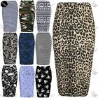 Womens Printed Stretchy High Waist Ladies Wiggle Tube Bodycon Pencil Midi Skirt