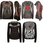 Tattoo Hoodie Graphic Tee Top Metal Mulisha Red Heart Sinful Rose Raglan Sweater