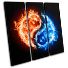 Ying Yang Abstract TREBLE CANVAS WALL ART Picture Print VA