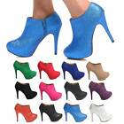 HIGH HEEL STIELTTO PARTY SHOE BOOTS BOOTIES ANKLE GLITTER SUEDE WOMENS