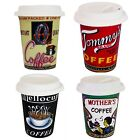 Go Ceramic Take Out Mug/Cup with Lid Assorted Designs