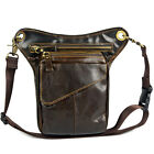 Men's Genuine Leather Messenger Fanny Pack Waist Riding Motorcycle Drop Leg Bag