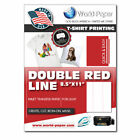 Sublimation Printing on Cotton T-Shirts Light YL* 8.5 x 11 25 Pk DOUBLE RED LINE