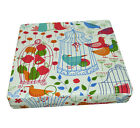 LL07t Red Blue Bird Owl on Beige Cotton Canvas 3D Box Seat Cushion Cover Custom