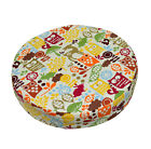 LL08r Orange Olive Yellow On Beige Cotton Canvas 3D Round Seat Cushion Cover