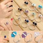 Rock Crystal Quartz Gemstone Hexagon Healing Point Chakra Adjustable Rings Gift