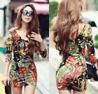 Fashion Women's V-neck Sexy Tight Package Hip Retro Flower Long-sleeved Dress