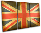 Union Jack Abstract Maps Flags TREBLE CANVAS WALL ART Picture Print VA