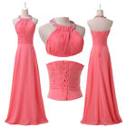 Cheap ~Halter Formal Long Bridesmaid Evening Homecoming Party Prom Lady Dresses