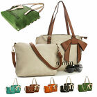Two in One Womens Chic Bow Multi Contrasting Tone Large Shoulder Tote Handbag
