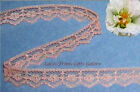 """15/30 Yds Peach Lace Trim 5/8"""" Dainty Scalloped O33V Buy More-Ship No Charge"""
