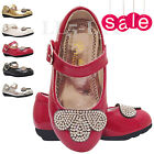 Girls Infant Children Wedding Fancy Velcro Diamante Party Shoes Sz 3 4 5 6 7