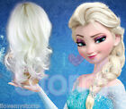 LADIES DISNEY QUEEN ELSA FROZEN COSPLAY FULL HEAD WHITE CURLY SYNTHETIC WIG HAIR
