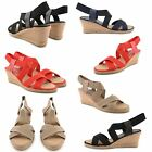 NEW LADIES DETAIL STRAW MID WEDGE HEEL OPEN TOE ANKLE STRAPPY SANDALS SHOES SIZE