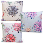 "CUSHION COVER LARGE 17""X 17"" FLOWERS TREES ZIP BUTTERFLIES"