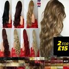 half wig blonde brown red 3/4 Wig Fall Clip in Hair piece Real Thick for women