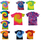 New Colortone Womens Rainbow Tie Dye Top Ladies Short Sleeved T-Shirt Size S-XXL
