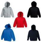 Fruit Of The Loom Kids Long Sleeved Zip Up Drawstring Hooded Jacket Ages 5-15