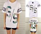 Womens New Style Hip Hop Number & Flowers Printing T-shirts Tops M~XL WWU