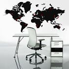 Extra Large World Map Wall Stickers - Globe Graphics  Vinyl Art Bedroom Decals