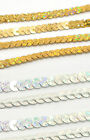 8 METREs x 6 mm SEQUINS SHINY ON A STRING,  FLAT, CARDMAKING DRESS  CRAFTS ETC.