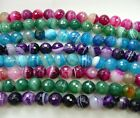 Pink, Green, Blue, Purple Striped Agate faceted round 6mm Gemstone bead