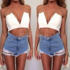 West Sexy Womens Celeb Party V-Neck Bralet Crop Top Ladies Boobtube Bra Vest Top