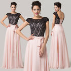 Long Lace Design Evening Formal Family Party Prom Wedding Bridesmaid Dress Bride