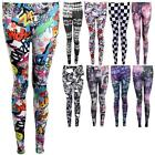 Women's Leaf Cartoon Checkered Knitted Floral Printed Comfy Ladies Leggings