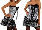 SEXY LADIES SILVER BURLESQUE MOULIN ROUGE CORSET FANCY DRESS AND SKIRT SET