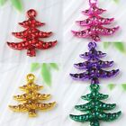 5x Crystal Rhinestone Christmas Tree Charm Pendant Beads Jewelry Making Findings