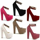 NEW LADIES FAUX SUEDE PU GOLD STRAP HIGH HEEL CONCEALED PLATFORM SANDALS UK 3-8