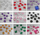 10MM Square Flatback Faceted Rhinestone Acrylic Diamond Scrapbook Craft DIY