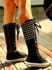 Chic Womens Punk Rivet Canvas Skateboard Shoes Lace Up Knee High Boots Sneakers