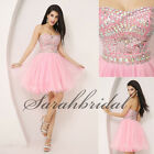 Sweetheart Short Pink Homecoming Dresses 2014 In Stock A-Line Beaded Prom Gowns