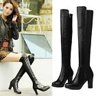 Womens Sexy Genuine Leather Stretchy Side Zip High Heel Over The Knee Boots