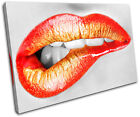 Biting Lips Erotic Fashion SINGLE CANVAS WALL ART Picture Print VA