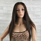 "Remy Indian Human Hair Wig Silky Straight Full Lace Front 14""-24"" Long Color #2"