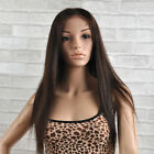 """2017 Silky Straight Front/Full Lace Wig Remy Human Hair Wig 14-24"""" Darkest Brown"""