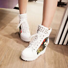 Womens Hidden Wedge High Heel Lace Up Ankle Boots Sneakers Floral Decor Shoes Sz