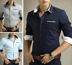 T220 New Men's Fashion Cotton Button Long Sleeves Casual Dress Slim Fit Shirts
