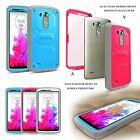 Rugged Impact Dual Layer Hybrid Full Protective Case Cover Bumper for 2014 LG G3