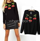 Vintage Women's 3D Cherry Pattern Cute Black Knitted Pullover Sweater HUK